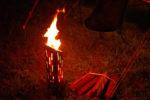 粕川オートキャンプ場 今夜はユニフレームUFファイアポットの火入れ式