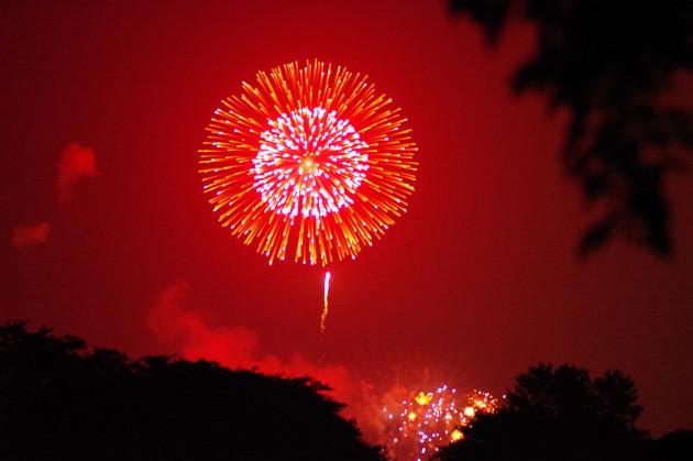 粕川オートキャンプ場から見る「ありがとう花火」