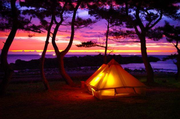 鮎川園地キャンプ場の日暮れ