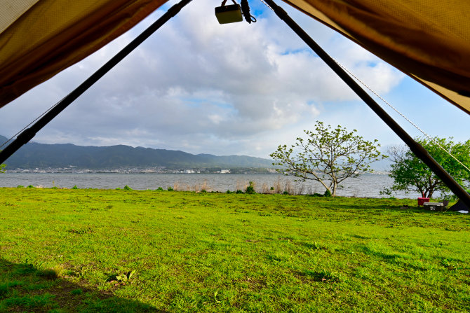 朝のキャンプ地