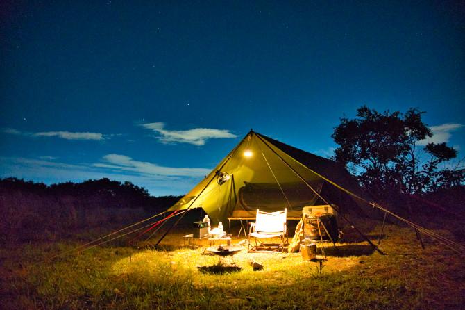 変形型T/Cタープの夏向けアレンジを試した野営地ソロキャンプ